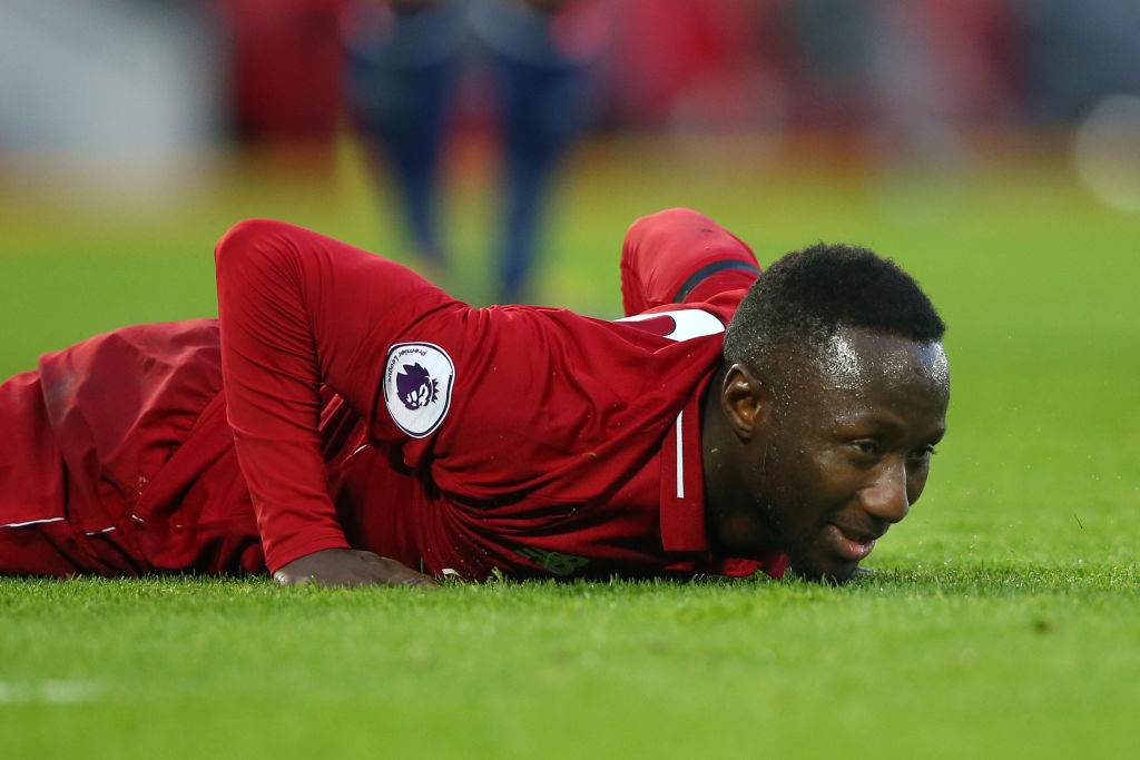 LIVERPOOL, ENGLAND - FEBRUARY 09: Naby Keita of Liverpool reacts during the Premier League match between Liverpool FC and AFC Bournemouth at Anfield on February 9, 2019 in Liverpool, United Kingdom. (Photo by Alex Livesey/Getty Images)