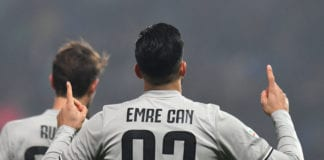 REGGIO NELL'EMILIA, ITALY - FEBRUARY 10: Emre Can of Juventus celebrates after scoring his team's second goal during the Serie A match between US Sassuolo and Juventus at Mapei Stadium - Citta' del Tricolore on February 10, 2019 in Reggio nell'Emilia, Italy. (Photo by Alessandro Sabattini/Getty Images)