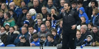 BRIGHTON, ENGLAND - FEBRUARY 16: Frank Lampard, Manager of Derby County returns the ball during the FA Cup Fifth Round match between Brighton and Hove Albion and Derby County at Amex Stadium on February 16, 2019 in Brighton, United Kingdom. (Photo by Mike Hewitt/Getty Images)