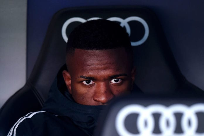 MADRID, SPAIN - FEBRUARY 17: Vinicius Junior of Real Madrid looks on from the bench prior to the La Liga match between Real Madrid CF and Girona FC at Estadio Santiago Bernabeu on February 17, 2019 in Madrid, Spain. (Photo by Denis Doyle/Getty Images)