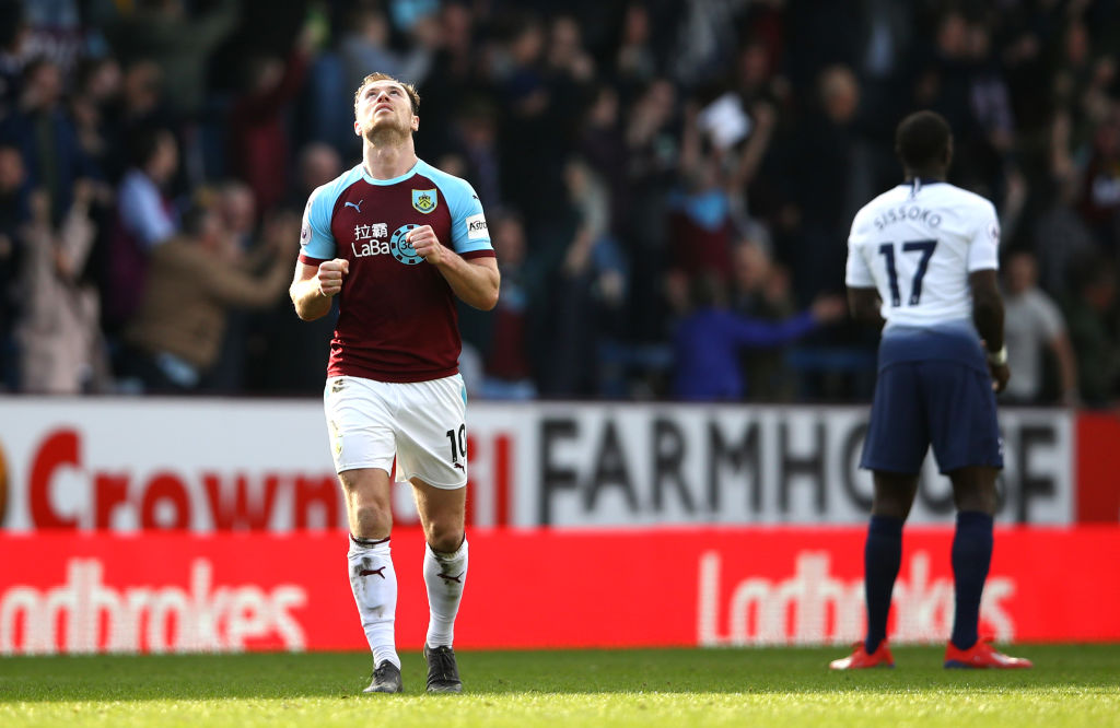 BURNLEY, ENGLAND - FEBRUARY 23: Ashley Barnes of Burnley celebrates following the Premier League match between Burnley FC and Tottenham Hotspur at Turf Moor on February 23, 2019 in Burnley, United Kingdom. (Photo by Clive Brunskill/Getty Images)