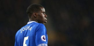 LIVERPOOL, ENGLAND - FEBRUARY 06: Kurt Zouma of Everton FC looks on during the Premier League match between Everton FC and Manchester City at Goodison Park on February 06, 2019 in Liverpool, United Kingdom. (Photo by Alex Livesey/Getty Images)