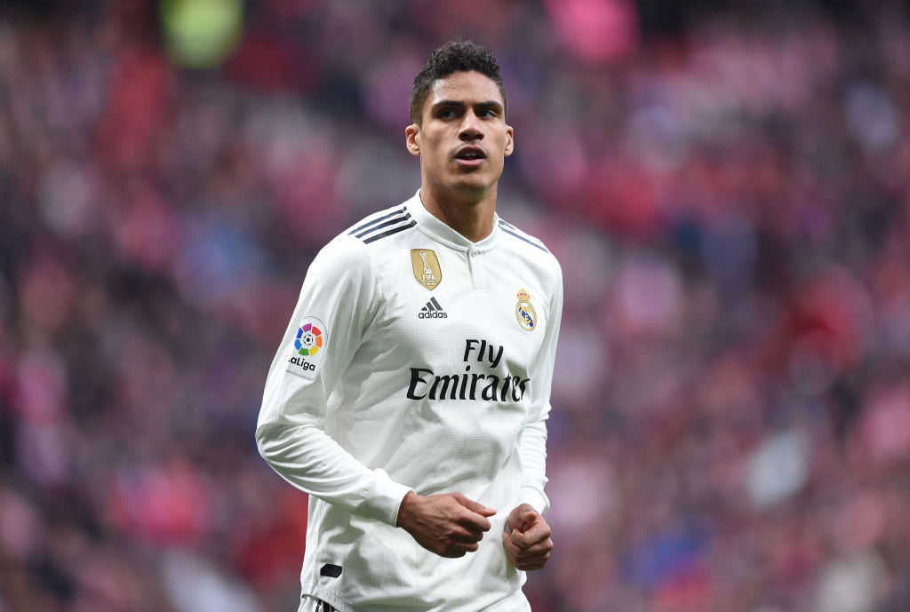 MADRID, SPAIN - FEBRUARY 09: Rafael Varane of Real Madrid looks on during the La Liga match between Club Atletico de Madrid and Real Madrid CF at Wanda Metropolitano on February 09, 2019 in Madrid, Spain. (Photo by Denis Doyle/Getty Images)