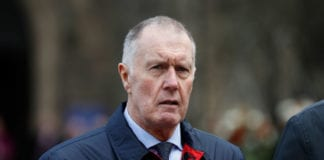 STOKE, ENGLAND - MARCH 04: Former England football player Sir Geoff Hurst attends the funeral of 1966 World Cup and former Stoke City Goalkeeper Gordon Banks on March 04, 2019 in Stoke, England. Gordon Banks, considered one of the finest goalkeepers of all time, had a career in football spanning 20 years and 73 caps for England. He started every game of England's successful 1966 World Cup title bid. His greatest save came in the 1970 World Cup against Brazil when he stopped a downward header from Pele. He played club football for Leicester and then Stoke City from where he retired. Today fellow 1966 World Cup footballer Geoff Hurst paid tribute to him during a service at Stoke Minster. (Photo by Darren Staples/Getty Images)