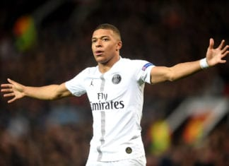 MANCHESTER, ENGLAND - FEBRUARY 12: Kylian Mbappe of PSG celebrates after scoring his sides second goal during the UEFA Champions League Round of 16 First Leg match between Manchester United and Paris Saint-Germain at Old Trafford on February 12, 2019 in Manchester, England. (Photo by Michael Regan/Getty Images)