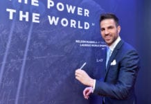 MONACO, MONACO - FEBRUARY 18: Cesc Fabregas at the Nelson Mandela wall during the 2019 Laureus World Sports Awards on February 18, 2019 in Monaco, Monaco. (Photo by Christian Alminana/Getty Images for Laureus)