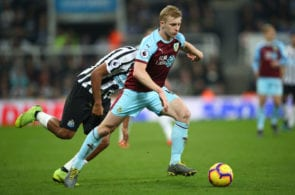 NEWCASTLE UPON TYNE, ENGLAND - FEBRUARY 26: Ben Mee of Burnley in action during the Premier League match between Newcastle United and Burnley FC at St. James Park on February 26, 2019 in Newcastle upon Tyne, United Kingdom. (Photo by Clive Brunskill/Getty Images)
