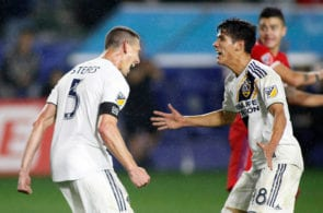 CARSON, CALIFORNIA - MARCH 02: Daniel Steres #5 of Los Angeles Galaxy celebrates his goal with Uriel Antuna #18 in the second half against the Chicago Fire at Dignity Health Sports Park on March 02, 2019 in Carson, California. (Photo by Meg Oliphant/Getty Images)