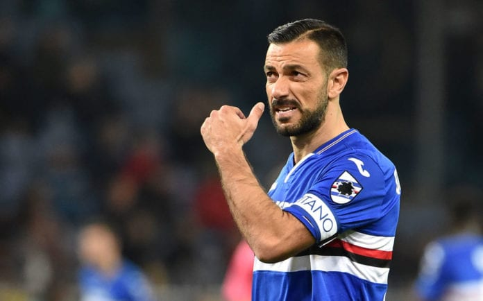 GENOA, ITALY - MARCH 30: Fabio Quagliarella captain of UC Sampdoria during the Serie A match between UC Sampdoria and AC Milan at Stadio Luigi Ferraris on March 30, 2019 in Genoa, Italy. (Photo by Paolo Rattini/Getty Images)