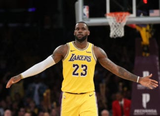LOS ANGELES, CALIFORNIA - MARCH 04: LeBron James #23 of the Los Angeles Lakers looks on during the first half of a game against the Los Angeles Clippers at Staples Center on March 04, 2019 in Los Angeles, California. (Photo by Sean M. Haffey/Getty Images)