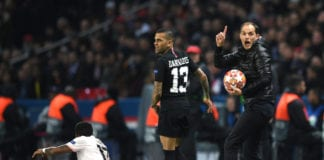 PARIS, FRANCE - MARCH 06: Thomas Tuchel, Manager of PSG and Dani Alves react during the UEFA Champions League Round of 16 Second Leg match between Paris Saint-Germain and Manchester United at Parc des Princes on March 06, 2019 in Paris, . (Photo by Shaun Botterill/Getty Images)