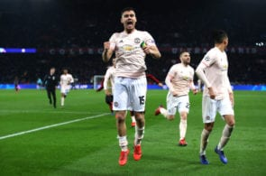 PARIS, FRANCE - MARCH 06: Andreas Pereira of Manchester United celebrates victory during the UEFA Champions League Round of 16 Second Leg match between Paris Saint-Germain and Manchester United at Parc des Princes on March 06, 2019 in Paris, . (Photo by Julian Finney/Getty Images)