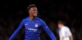 LONDON, ENGLAND - MARCH 07: Callum Hudson-Odoi of Chelsea celebrates after scoring his team's third goal during the UEFA Europa League Round of 16 First Leg match between Chelsea and Dynamo Kyiv at Stamford Bridge on March 07, 2019 in London, England. (Photo by Catherine Ivill/Getty Images)