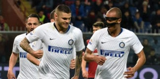 GENOA, ITALY - APRIL 03: Mauro Icardi of FC Internazionale celebrates after penalty 0-2 during the Serie A match between Genoa CFC and FC Internazionale at Stadio Luigi Ferraris on April 3, 2019 in Genoa, Italy. (Photo by Paolo Rattini/Getty Images)