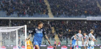 EMPOLI, ITALY - APRIL 03: Giovanni Di Lorenzo of Empoli FC celebrates after scoring a goal during the Serie A match between Empoli and SSC Napoli at Stadio Carlo Castellani on April 3, 2019 in Empoli, Italy. (Photo by Gabriele Maltinti/Getty Images)