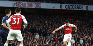 LONDON, ENGLAND - MARCH 10: Granit Xhaka of Arsenal shoots at goal during the Premier League match between Arsenal FC and Manchester United at Emirates Stadium on March 10, 2019 in London, United Kingdom. (Photo by Julian Finney/Getty Images)