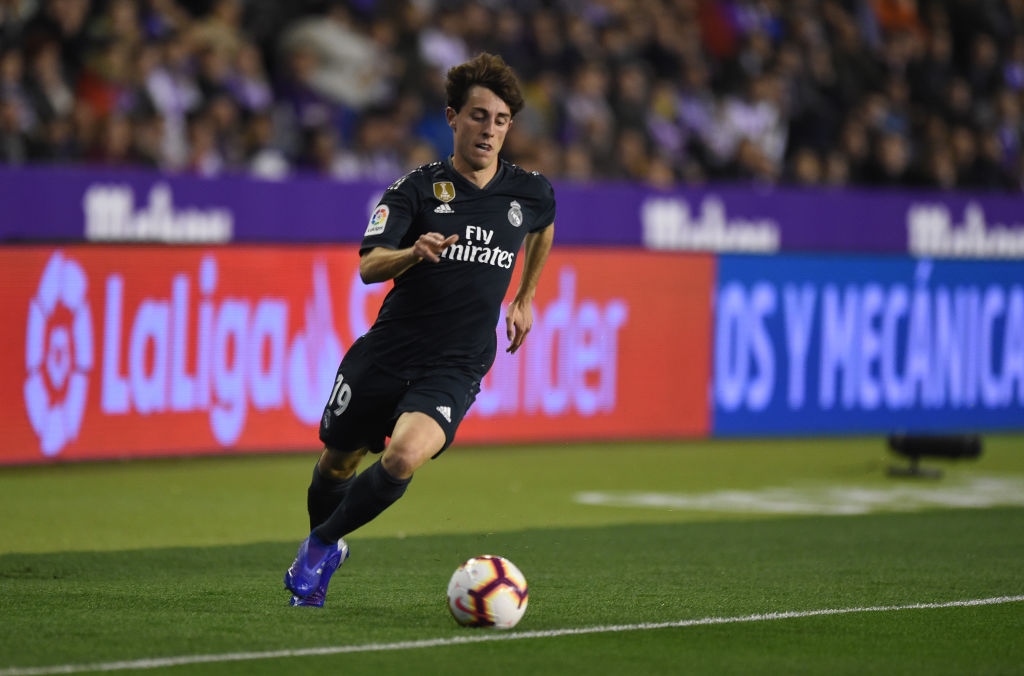 VALLADOLID, SPAIN - MARCH 10: Alvaro Odriozola of Real Madrid in action during the La Liga match between Real Valladolid CF and Real Madrid CF at Estadio Jose Zorrilla on March 10, 2019 in Valladolid, Spain. (Photo by Denis Doyle/Getty Images)