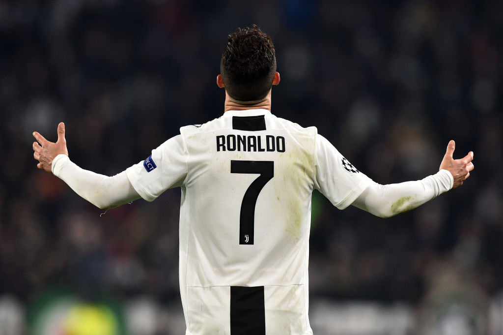 TURIN, ITALY - MARCH 12: Cristiano Ronaldo of Juventus gestures during the UEFA Champions League Round of 16 Second Leg match between Juventus and Club de Atletico Madrid at Allianz Stadium on March 12, 2019 in Turin, . (Photo by Tullio M. Puglia/Getty Images)