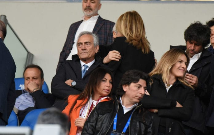 REGGIO NELL'EMILIA, ITALY - APRIL 09: FIGC President Gabriele Gravina looks on during the International Friendly match between Italy Women and Ireland Women at Mapei Stadium - Città del Tricolore on April 9, 2019 in Reggio nell'Emilia, Italy (Photo by Alessandro Sabattini/Getty Images)