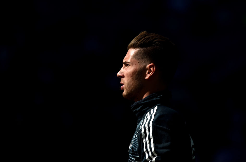 MADRID, SPAIN - MARCH 16: Luca Zidane of Real Madrid looks on prior to the La Liga match between Real Madrid CF and RC Celta de Vigo at Estadio Santiago Bernabeu on March 16, 2019 in Madrid, Spain. (Photo by Denis Doyle/Getty Images)