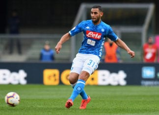 VERONA, ITALY - APRIL 14: Faouzi Ghoulam of SSC Napoli in action during the Serie A match between Chievo Verona and SSC Napoli at Stadio Marc'Antonio Bentegodi on April 14, 2019 in Verona, Italy. (Photo by Alessandro Sabattini/Getty Images)