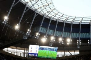 LONDON, ENGLAND - MARCH 24: The LED screen shows the final score after the U18 Premier League between Tottenham Hotspur and Southampton at Tottenham Hotspur Stadium on March 24, 2019 in London, England. (Photo by Bryn Lennon/Getty Images)