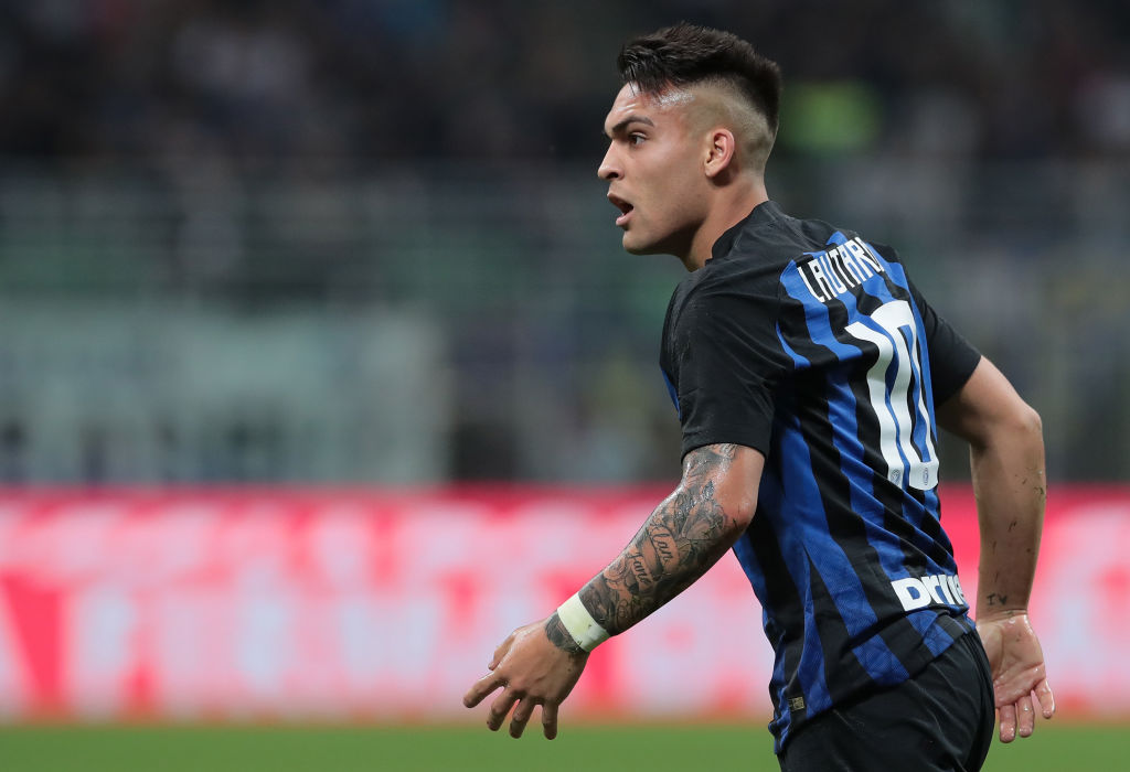 MILAN, ITALY - APRIL 20: Lautaro Martinez of FC Internazionale reacts during the Serie A match between FC Internazionale and AS Roma at Stadio Giuseppe Meazza on April 20, 2019 in Milan, Italy. (Photo by Emilio Andreoli/Getty Images)