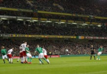 DUBLIN, IRELAND - MARCH 26: Conor Hourihane of Ireland scores the opening goal from a free kick during the 2020 UEFA European Championships group D qualifying match between Republic of Ireland and Georgia at Aviva Stadium on March 26, 2019 in Dublin, Ireland. (Photo by Catherine Ivill/Getty Images)