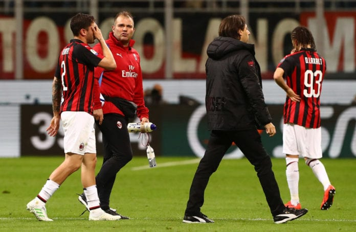 MILAN, ITALY - APRIL 24: Davide Calabria of AC Milan walk off with an injury during the TIM Cup match between AC Milan and SS Lazio at Stadio Giuseppe Meazza on April 24, 2019 in Milan, Italy. (Photo by Marco Luzzani/Getty Images)
