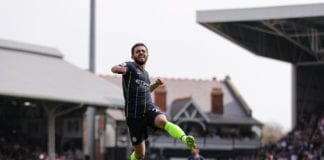 LONDON, ENGLAND - MARCH 30: Bernardo Silva of Manchester City celebrates after scoring his team's first goal during the Premier League match between Fulham FC and Manchester City at Craven Cottage on March 30, 2019 in London, United Kingdom.(Photo by Richard Heathcote/Getty Images)