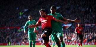 MANCHESTER, ENGLAND - MARCH 30: Juan Mata of Manchester United battles for possession with Christian Kabasele of Watford during the Premier League match between Manchester United and Watford FC at Old Trafford on March 30, 2019 in Manchester, United Kingdom. (Photo by Clive Brunskill/Getty Images)