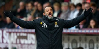 BURNLEY, ENGLAND - MARCH 30: Nuno Espirito Santo, Manager of Wolverhampton Wanderers reacts during the Premier League match between Burnley FC and Wolverhampton Wanderers at Turf Moor on March 30, 2019 in Burnley, United Kingdom. (Photo by Alex Livesey/Getty Images)