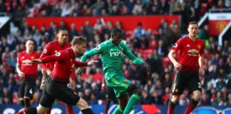 MANCHESTER, ENGLAND - MARCH 30: Abdoulaye Doucoure of Watford scores his team's first goal during the Premier League match between Manchester United and Watford FC at Old Trafford on March 30, 2019 in Manchester, United Kingdom. (Photo by Clive Brunskill/Getty Images)