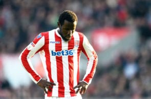 STOKE ON TRENT, ENGLAND - MARCH 30: Mame Biram Diouf of Stoke City looks dejected during the Sky Bet Championship match between Stoke City and Sheffield Wednesday at Bet365 Stadium on March 30, 2019 in Stoke on Trent, England. (Photo by Nathan Stirk/Getty Images)