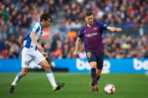 BARCELONA, SPAIN - MARCH 30: Clement Lenglet of FC Barcelona conducts the ball under pressure from Esteban Granero of RCD Espanyol during the La Liga match between FC Barcelona and RCD Espanyol at Camp Nou on March 30, 2019 in Barcelona, Spain. (Photo by Alex Caparros/Getty Images)