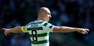 GLASGOW, SCOTLAND - MARCH 31: Scott Brown of Celtic during the Ladbrokes Scottish Premiership match between Celtic and Rangers at Celtic Park on March 31, 2019 in Glasgow, Scotland. (Photo by Mark Runnacles/Getty Images)