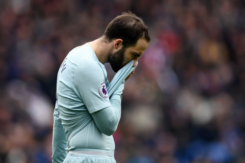 CARDIFF, WALES - MARCH 31: Gonzalo Higuain of Chelsea reacts during the Premier League match between Cardiff City and Chelsea FC at Cardiff City Stadium on March 31, 2019 in Cardiff, United Kingdom. (Photo by Stu Forster/Getty Images)