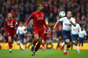 LIVERPOOL, ENGLAND - MARCH 31: Joel Matip of Liverpool during the Premier League match between Liverpool FC and Tottenham Hotspur at Anfield on March 31, 2019 in Liverpool, United Kingdom. (Photo by Clive Brunskill/Getty Images)