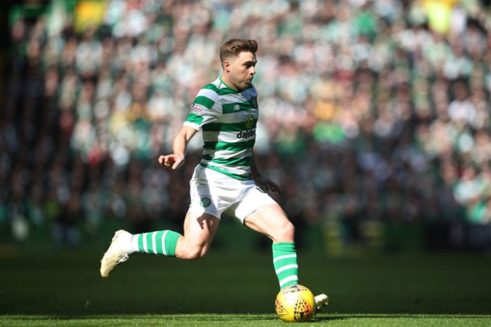 GLASGOW, SCOTLAND - MARCH 31: James Forrest of Celtic controls the ball during the Ladbrokes Premier League match between Celtic and Rangers at Celtic Park on March 31, 2019 in Glasgow, Scotland. (Photo by Ian MacNicol/Getty Images)