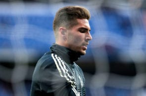 MADRID, SPAIN - MARCH 31: Luca Zidane of Real Madrid warms up ahead of the La Liga match between Real Madrid CF and SD Huesca at Estadio Santiago Bernabeu on March 31, 2019 in Madrid, Spain. (Photo by Gonzalo Arroyo Moreno/Getty Images)