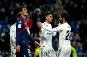 MADRID, SPAIN - MARCH 31: Dani Ceballos of Real Madrid celebrates with Isco after scoring his sides second goal during the La Liga match between Real Madrid CF and SD Huesca at Estadio Santiago Bernabeu on March 31, 2019 in Madrid, Spain. (Photo by Gonzalo Arroyo Moreno/Getty Images)