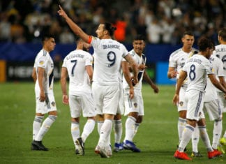 CARSON, CALIFORNIA - MARCH 31: Zlatan Ibrahimovic #9 of Los Angeles Galaxy points to the crowd after scoring his second goal against the Portland Timbers at Dignity Health Sports Park on March 31, 2019 in Carson, California. (Photo by Katharine Lotze/Getty Images)