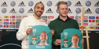 "Frankfurt, GERMANY - MARCH 31: Mohammed ""MoAuba "" Harkous and Michael ""MegaBit "" Bittner during the DFB eFootball - Press Conference at DFB Headquarter on March 31, 2019 in Frankfurt am Main, Germany. (Photo by Andreas Schlichter/Getty Images for DFB)"