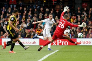 WATFORD, ENGLAND - APRIL 27: Diogo Jota of Wolverhampton Wanderers scores their 2nd goal during the Premier League match between Watford FC and Wolverhampton Wanderers at Vicarage Road on April 27, 2019 in Watford, United Kingdom. (Photo by Marc Atkins/Getty Images)