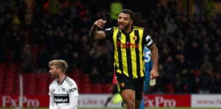WATFORD, ENGLAND - APRIL 02: Troy Deeney of Watford celebrates after scoring his team's third goal during the Premier League match between Watford FC and Fulham FC at Vicarage Road on April 02, 2019 in Watford, United Kingdom. (Photo by Dan Istitene/Getty Images)