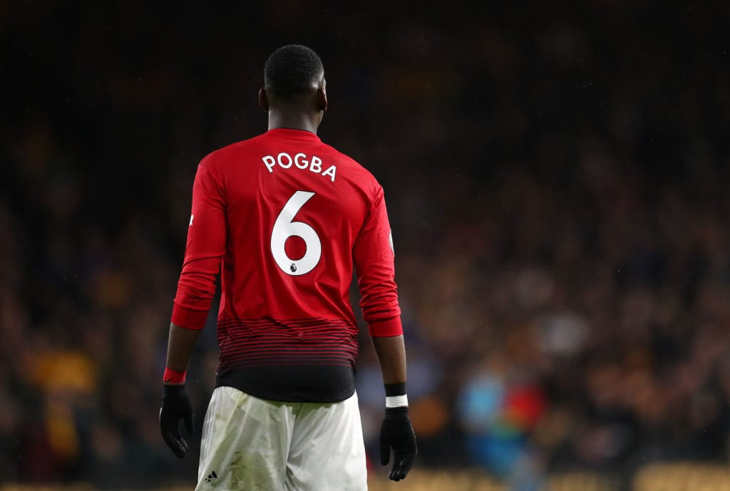 WOLVERHAMPTON, ENGLAND - APRIL 02: Paul Pogba of Manchester United during the Premier League match between Wolverhampton Wanderers and Manchester United at Molineux on April 02, 2019 in Wolverhampton, United Kingdom. (Photo by Catherine Ivill/Getty Images)