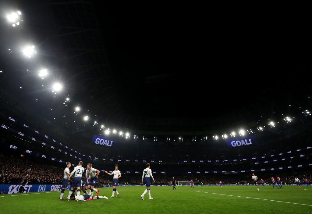 LONDON, ENGLAND - APRIL 03: General view as Son Heung-min of Tottenham Hotspur celebrates scoring his sides first goal during the Premier League match between Tottenham Hotspur and Crystal Palace at Tottenham Hotspur Stadium on April 03, 2019 in London, United Kingdom. (Photo by Catherine Ivill/Getty Images)