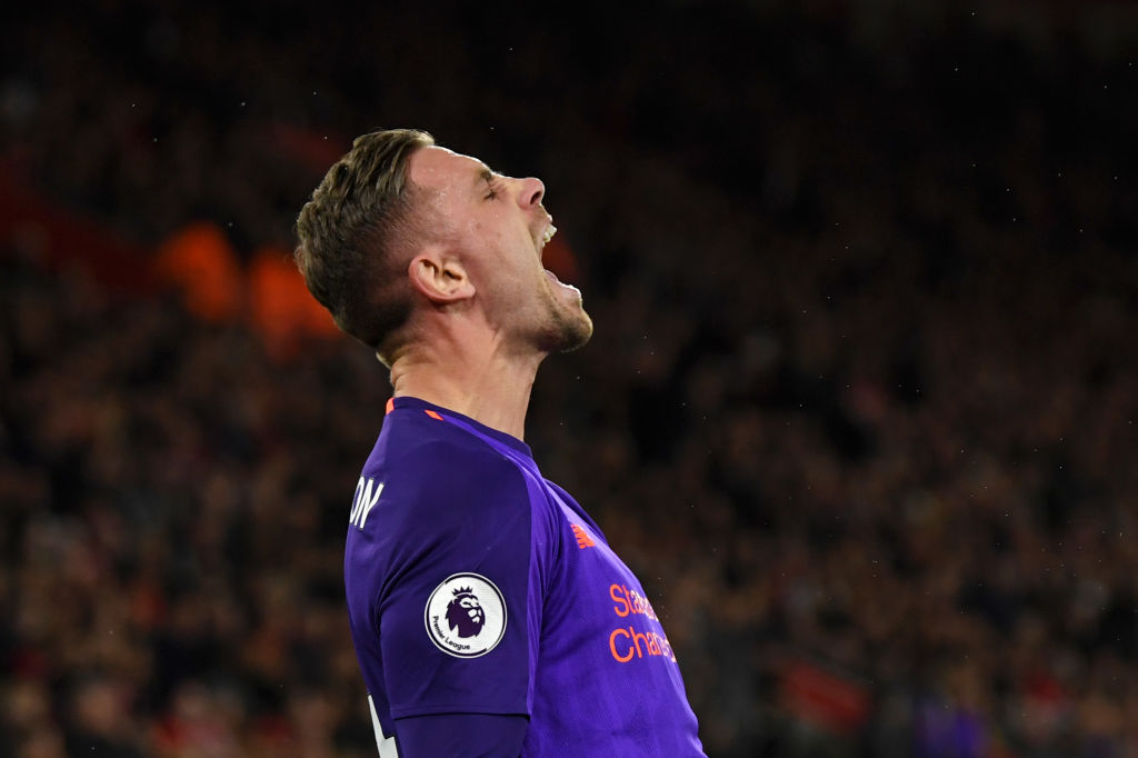 SOUTHAMPTON, ENGLAND - APRIL 05: Jordan Henderson of Liverpool celebrates after scoring his team's third goal during the Premier League match between Southampton FC and Liverpool FC at St Mary's Stadium on April 05, 2019 in Southampton, United Kingdom. (Photo by Mike Hewitt/Getty Images)
