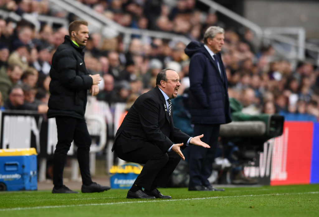 NEWCASTLE UPON TYNE, ENGLAND - APRIL 06: Rafael Benitez, Manager of Newcastle United reacts during the Premier League match between Newcastle United and Crystal Palace at St. James Park on April 06, 2019 in Newcastle upon Tyne, United Kingdom. (Photo by Stu Forster/Getty Images)