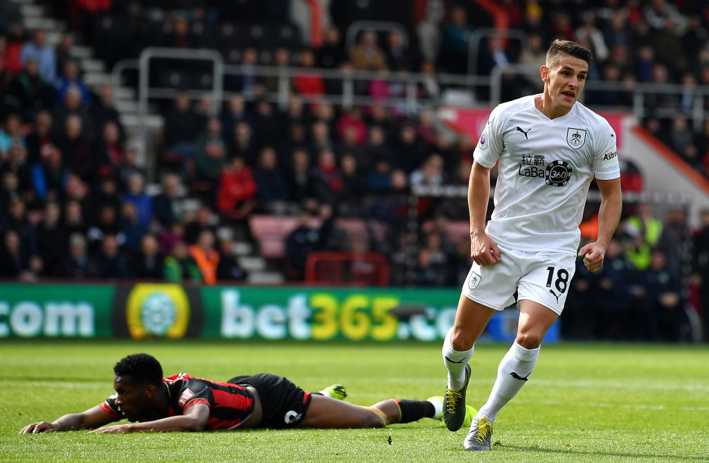 BOURNEMOUTH, ENGLAND - APRIL 06: Ashley Westwood of Burnley celebrates scoring the 2nd Burnley goal during the Premier League match between AFC Bournemouth and Burnley FC at Vitality Stadium on April 06, 2019 in Bournemouth, United Kingdom. (Photo by Justin Setterfield/Getty Images)